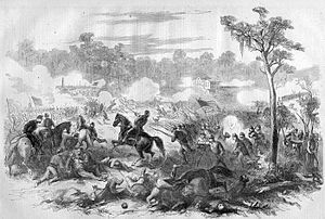 Battle of Baton Rouge (1862) - A line engraving of the battle published in Harper's Weekly, 1862