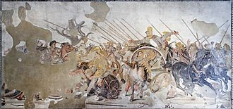 Ancient Macedonian army - The Alexander Mosaic showing the Battle of Issus; a Roman copy of a Hellenistic painting, c. 100 BC