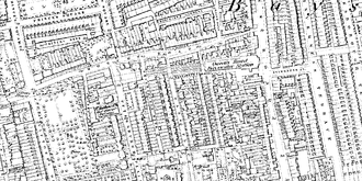 Bayswater tube station - Ordnance Survey map showing Bayswater station in 1869