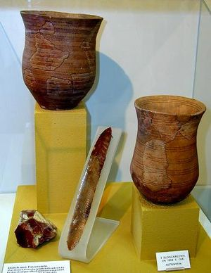 "Culture-historical archaeology - Items from the Neolithic ""Beaker culture""; the idea of defining distinct ""cultures"" according to their material culture was at the core of culture-historical archaeology."