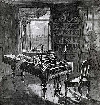 Piano Sonata No. 30 (Beethoven) - Beethoven's studio  (Johann Nepomuk Hoechle, 1827)