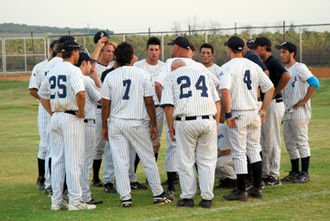 Dan Duquette - The Bet Shemesh Blue Sox in a team huddle in 2007, one of six teams to play in the inaugural season of the Israel Baseball League