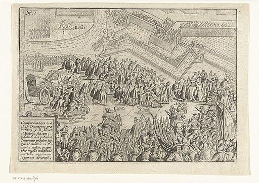Beleg van Oostende de wapenstilstand op 24-25 december 1601 Comprehendens 24 et 25 decemberis praesentibus SM Alberto et Isabella (titel op object), RP-P-OB-80.676