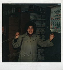Ingrid Bengis at the rope in the basement of the Strand Bookstore (1979)