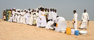 Religion in Benin - Baptism ceremony of the Celestial Church of Christ in Cotonou, Benin.