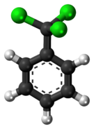 Ball-and-stick model of the benzotrichloride molecule