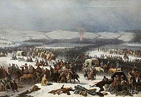 Napoléon traversant la BérézinaHuile sur toile de Janvier Suchodolski, 1866, Musée national de Poznań
