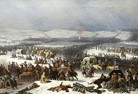 Napoleon's Grande Armee retreating after his invasion of Russia and crossing the Berezina river (near Barysaw, Belarus) Berezyna.jpg