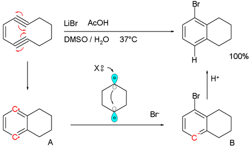 Bergman cyclization with capture by lithium bromide