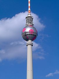 The Fernsehturm sphere decorated as a football...