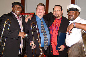 Steve Turre - L to R: Big Sam Williams, Jeff Albert, Steve Turre, and Kirk Joseph