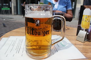 Lager - A glass of Bitburger, a German lager