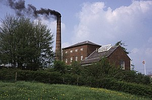 Crofton Pumping Station - The pumping station with smoke, shown on a running day in 1999