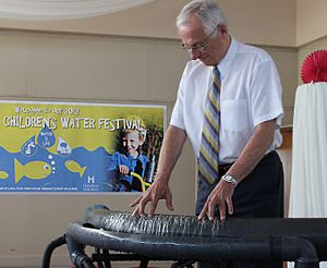 Bob Bratina - Mayor and musician Bob Bratina playing hydraulophone at the Hamilton Children's Water Festival, May 30, 2012