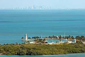 National Register of Historic Places listings in Biscayne National Park - Image: Boca Chita Miami skyline NPS1