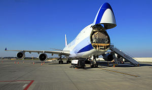 Boeing 747 - China Airlines 747-400F with the nose cargo door open
