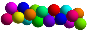 Boerdijk–Coxeter helix - A Boerdijk helical sphere packing has each sphere centered at a vertex of the Coxeter helix. Each sphere is in contact with 6 neighboring spheres.