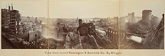 Great Boston Fire of 1872 - Image: Boston Fire from Washington & Bromfield panoramic by Whipple, 1872