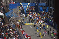 Boston Marathon bombing, first bomb site 54 minute before explosion.jpg