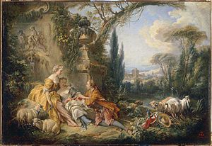 Concerti grossi, Op. 6 (Handel) - Charmes de la vie champêtre by François Boucher. The musette, a drone reed instrument, gave its name to the popular eighteenth century pastoral dance evoking shepherds and shepherdesses.