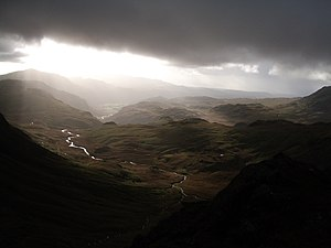 Bowfell - Image: Bowfell summit towards Eskdale