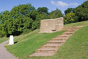 Box Hill, Surrey - Salomons Memorial viewpoint and triangulation post on the North Downs Way.