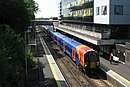 Bracknell - SWR 458518+458506 (Stagecoach livery) up train.JPG
