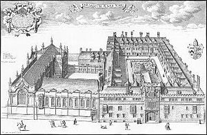 Chapel of Brasenose College, Oxford - Illustration from 1675, showing the completed Chapel
