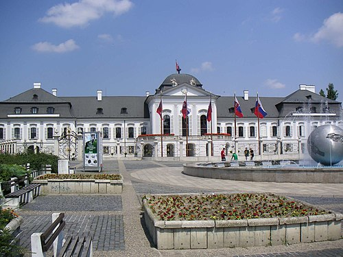 Grassalkovich Palace in Bratislava is the seat of the President of Slovakia. Bratislava-grassalkovicov palac.jpg