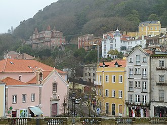 Sintra - The buildings in the central square of São Martinho, across from the Sintra National Palace