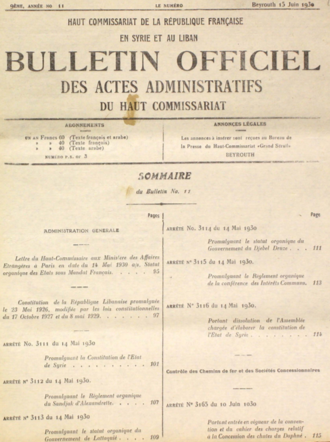 French Mandate for Syria and the Lebanon - Bulletin Officiel des Actes Administratifs du Haut Commissariat, 14 May 1930, announcing the constitutions of the states within the French Mandate of Syria and Lebanon