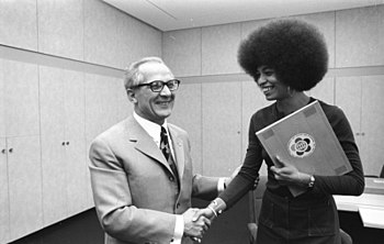 Angela Davis (right) in 1972 with her influent...