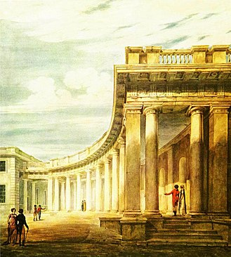 Burlington House - One of James Gibbs's colonnades at Burlington House, in a watercolour of c.1806–08