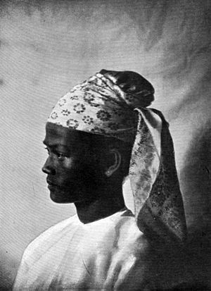 Gaung baung - A Burman gaung baung of the predominant style in the early 1900s.