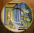 C.sf., urbino, nicola da urbino, piatto con morte di achille, 1525-1535 circa.JPG