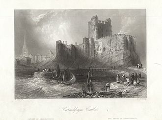 Carrickfergus - A drawing of Carrickfergus Castle circa 1840.