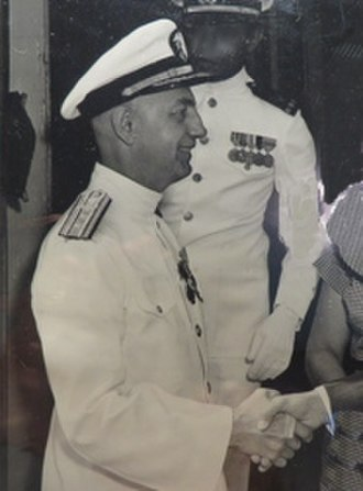 Charles L. Carpenter - Rear Admiral Carpenter at his retirement ceremony in 1956 after 30 years of active service.