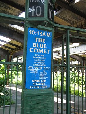 Blue Comet - A reproduced sign for former Blue Comet service at Communipaw Terminal in Jersey City
