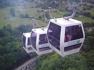Matlock Bath - Cable Cars high above the A6 road