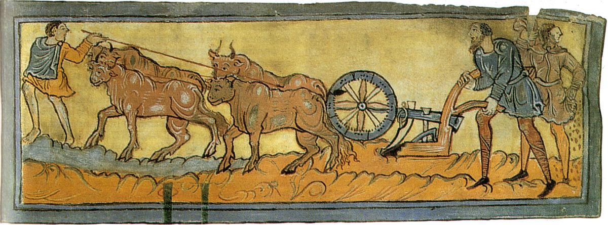 Calendario (l'aratura), 1000 circa, miniatura, cotton ms. Tiberius B. V., f. 3r., Londra, British Library.jpg