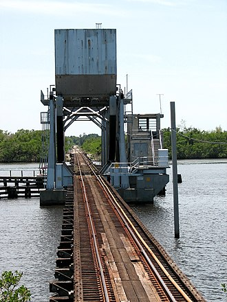 Seminole Gulf Railway - Seminole Gulf's drawbridge over the Caloosahatchee River just east of Fort Myers at milepost AX 960.