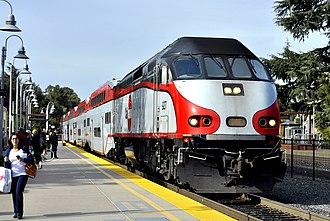 Caltrain - Southbound train at Palo Alto station in 2014