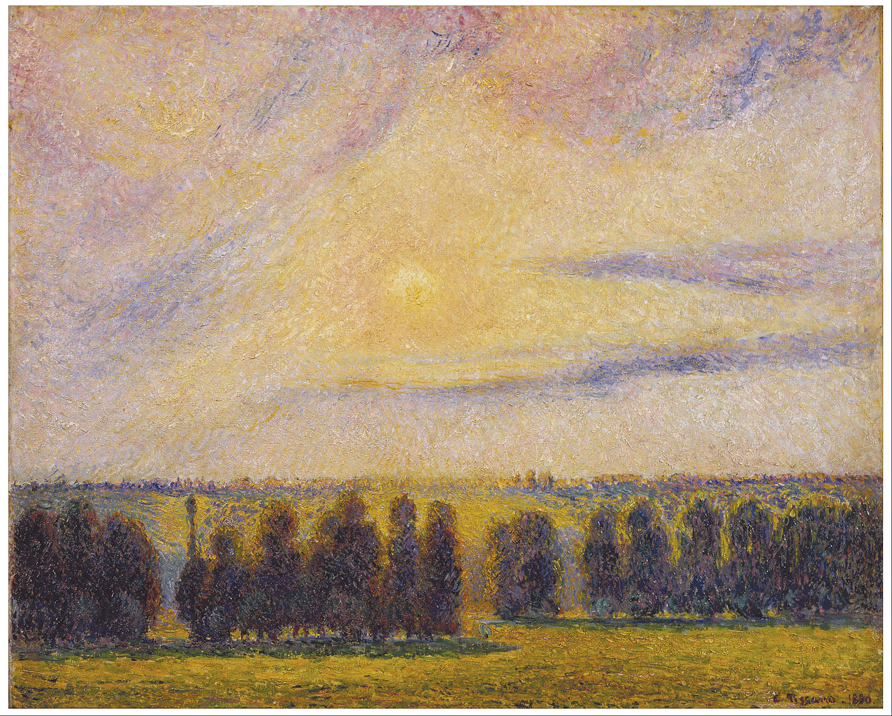 file camille pissarro sunset at eragny google art wikimedia commons. Black Bedroom Furniture Sets. Home Design Ideas