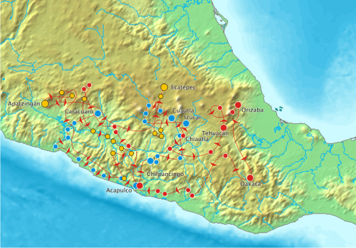 A map of the military campaigns of Morelos. Campana de Morelos.png