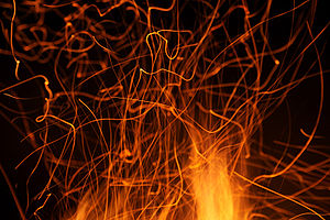 English: Campfire with sparks in Anttoora, Fin...