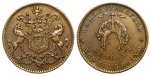 Coins of the Newfoundland dollar - Newfoundland Rutherford Penny Token (St. John's) c. 1840