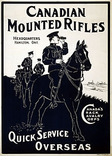 "A recruitment poster for the Canadian Mounted Rifles, stating ""Quick Service Overseas"". In the foreground is a man in military dress on a horse, with other men and horses in the background."