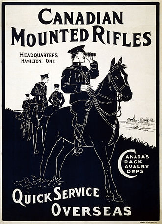 "5th Battalion, Canadian Mounted Rifles, CEF - ""Canada's Crack Cavalry Corps"" World War I recruitment poster."