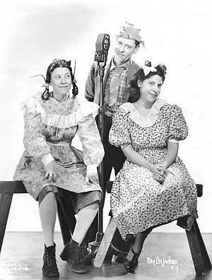 Judy Canova - The Canovas as they appeared on The Chase and Sanborn Hour in 1938  from left: Judy, Zeke, and Annie