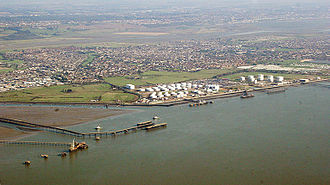 Canvey Island - The petrochemical shipping and storage facilities at Hole Haven